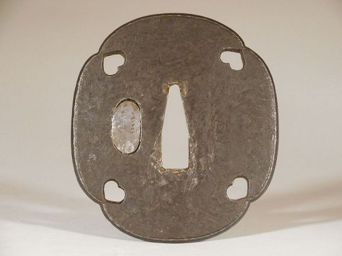 Mokume Mokogata Iron Tsuba with Boar's Eye Sukashi Corners, Raised Rim