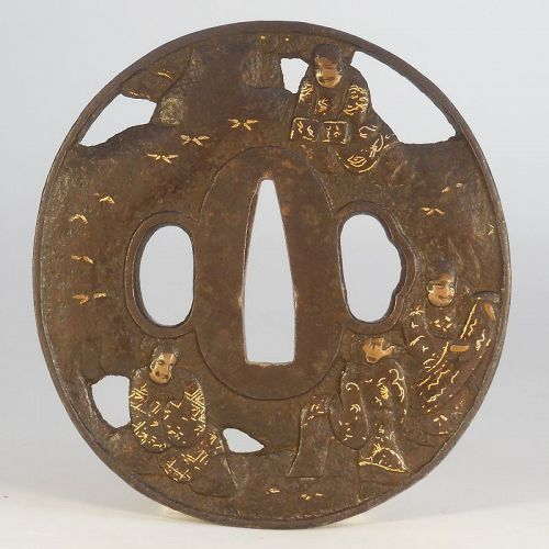Soten School Iron Tsuba, Openwork Decoration Of Literati In Landscape