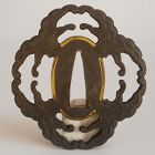 Edo Period Iron Tsuba, Stylized Wave Motif, Possibly Depicting a Mon