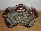 "Millersburg TROUT & FLY 9"" Amethyst Bowl"