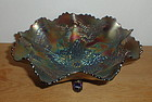 """Fenton blue STAG & HOLLY 10 5/8"""" Footed Bowl"""
