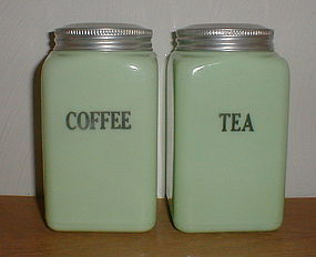 McKee Jadeite 28 oz. COFFEE & TEA Canisters