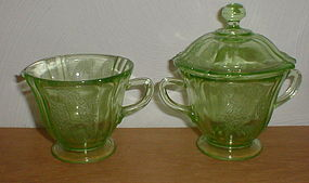 Green Parrot Creamer, Sugar and Lid