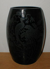 "Peacock & Wild Rose 8 1/4"" Elliptical Vase - black"