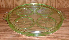 "Green Depression 8 1/2"" Tumbler Tray"