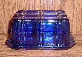 Hazel Atlas Cobalt CRISSCROSS 1 lb. Butter Dish