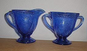ROYAL LACE Cobalt Footed Creamer & Sugar