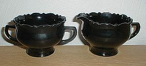 Mt. Pleasant Black Amethyst Creamer & Sugar