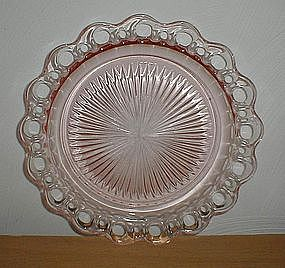 "Pink Old Colony Lace Edge 10 1/2"" Dinner Plate"