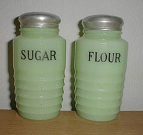 Jeanette Jadeite ribbed FLOUR & SUGAR Shakers