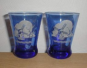 "Cobalt WINDMILLS3 1/4"" Heavy Bottom Tumblers"