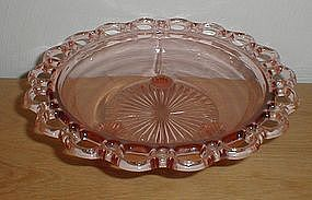 "Pink OLD COLONY Lace Edge 3 Legged 10 1/2"" Bowl"