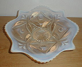 "White Opalescent WHEEL & BLOCK 10"" Bowl"