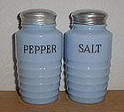 Jeannette Ribbed Delphite Salt & Pepper Shakers