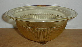 "Amber Ribbed 9 1/2"" Rolled Edge Mixing Bowl"