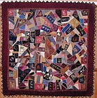Victorian Crazy Quilt with Shams; Ca. 1870