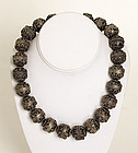 Sterling Silver Decorated Beads Necklace