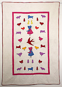 Sunbonnet Sue with Animals Crib Quilt: Ca. 1930; Pa.