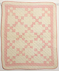 Nine Patch Doll Quilt: Circa 1920; Pennsylvania