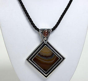 Silver and Picture Agate Necklace