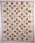 Starflower Applique Quilt: Circa 1870