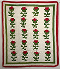 Floral Applique Crib Quilt; Dated 1868; New York State