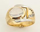 Retro Moonstone Ring in Gold and Platinum