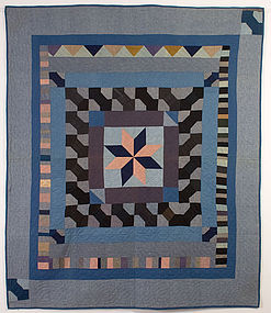 Indiana Amish Center Medallion Quilt: Circa 1920