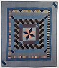 Indiana Amish Center Medallion Quilt: Circa 1920