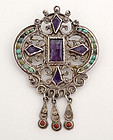 Matl Silver Brooch with Amethyst and Turquoise