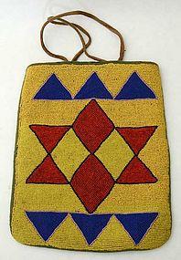 Native American Beaded Bag: Circa 1880