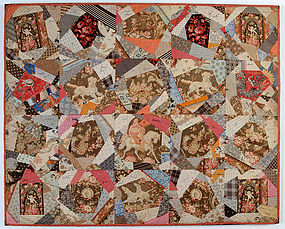 Cotton Crazy Crib Quilt with Embroidered message:1885