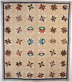 LeMoyne Stars with Tulips Quilt: Circa 1830; Pa.