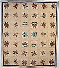 LeMoyne Stars with Tulips Quilt: Circa 1830; Pa.