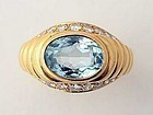 Bulgari Aquamarine and Diamond Ring