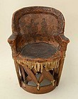 Mexican Wood and Leather Doll's Chair: Circa 1940