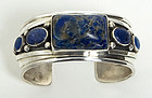 Silver and Sodalite Cuff Bracelet