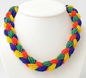 Braided Beads necklace: Circa 1950