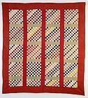 One Patch Bars Quilt: Circa 1880; Maryland