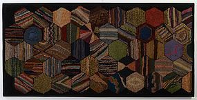 Hexagons Hooked Rug: Circa 1920