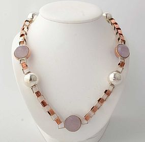 Silver and Copper Necklace with Rose Quartz