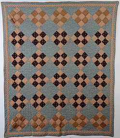Wool Challis Nine Patch Quilt: Circa 1870