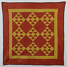 Double Pyramids Crib Quilt: Ca. 1880: Pa.