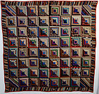 Straight Furrows Log Cabin Quilt: Ca. 1870;Pa.