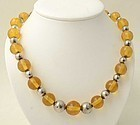 Silver and Amber Bead Necklace