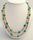 Long Gold Chain Necklace with Turquoise