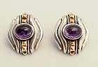Lagos Caviar Earrings - Silver,Gold and Amethyst