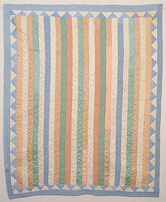Pastel Shirting Bars Quilt: Ca. 1920; Pa.