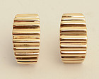 Tiffany Gold Ridged Half Hoop Earrings