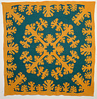 Hawaiian Applique Quilt: Circa 1930